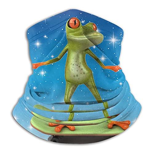 Frog Playing Skateboard Microfiber Neck Warmer Neck Gaiter Face Mask Bandana Balaclava