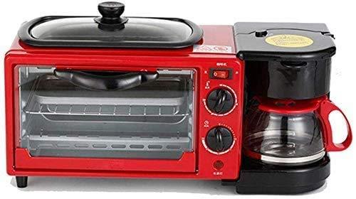 Allamp Electrodomésticos Máquina de Pan de máquinas, con Aceite en sartén y 0.6L Cafetera con Mango Anti-escaldado, con la sincronización, cocción, calefacción, descongelación, Barbacoa, Función