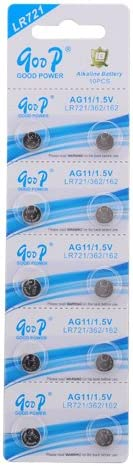 10 Pcs Set AG11/LR721/362 1.5V Button Cell Alkaline Battery