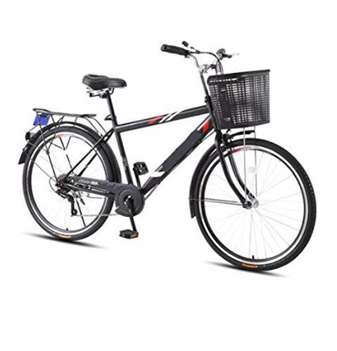 CHERRIESU 26 Pulgadas de una Sola suspensión Crucero Bicicleta 7 velocidades Marco de Acero liviano Bicicleta con Cesta para Hombres Adultos de Viaje Retro Bicicleta Playa Crucero Bicicleta,Negro