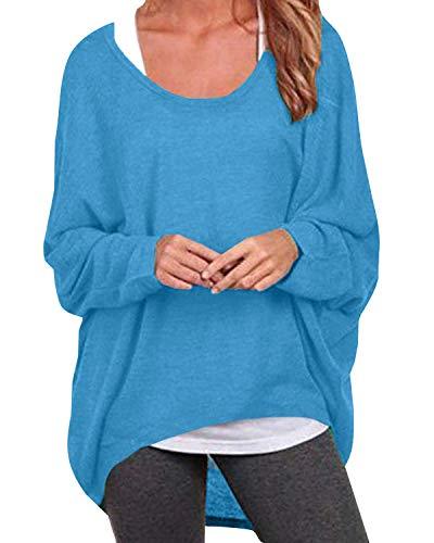 ZANZEA Damen Lose Asymmetrisch Jumper Sweatshirt Pullover Bluse Oberteile Oversize Tops Blau EU 38-40/Etikettgröße M