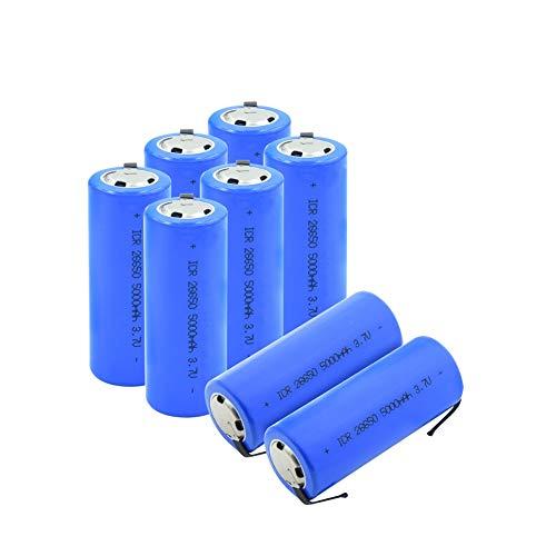 RitzyRose Batería de litio ICR 26650 de 3,7 V, 5000 mAh, recargable, con 2 lengüetas para linterna, videocámara, herramienta eléctrica, 10 unidades