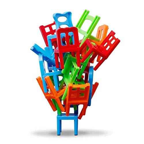 Juyuntong Stühle stapeln Turm Balancing-Spiel - 36 Stück Kinder Stapeln Stühle Spielzeug, Mini Bunte Party Spaß Stapel-Spielzeug, Kinder Pädagogische Familie Puzzle-Spiel