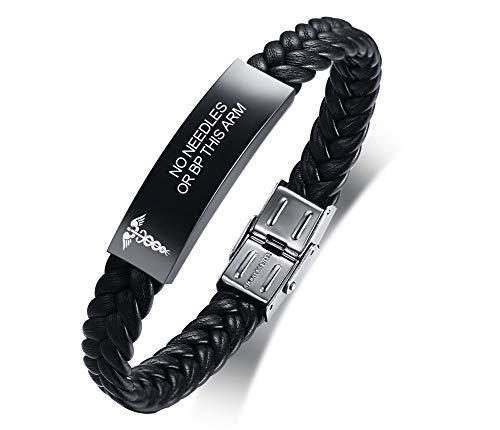VNOX NO Needles OR BP This ARM Bracelet Stainless Steel Leather Medical Alert Bracelet Star of Life Medical Leather Bracelet for Men Women,Adjustable