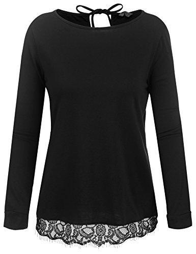 Beyove Damen Langarmshirts mit Falten Rundhals mit Pailletten Loose Fit Oberteile Lässige Pullover Tops Frezeit Casual Sweatshirt Tunika (B-Schwarz, EU 40(Herstellergröße:L))