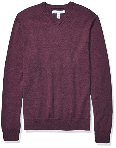 Amazon Essentials Men's V-Neck Sweater, Burgundy Marled Large