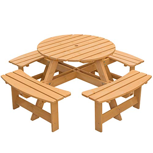 Gardenised Wooden Outdoor Patio Garden Round Picnic Table with Bench, 8 Person-Stained