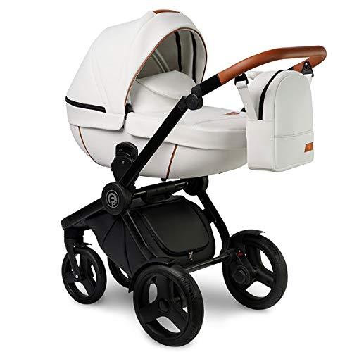 Krausman Kinderwagen 3 in 1 Topaz Lux White Kombikinderwagen Babyschale Babywanne Sportwagen