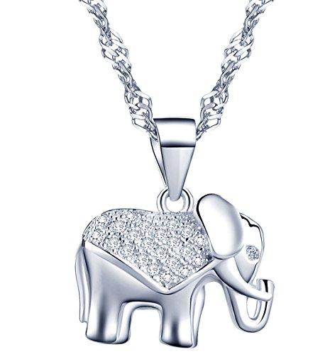 Unendlich U 925 Sterling Silber Damen Halskette mit Elefant Zirkonia Anhänger in Weihnachtsstrumpf für Geburtstag