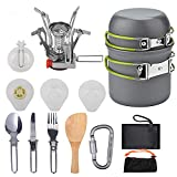WYYUE Camping Cookware Set,Ultralight Portable Mini Canister Stove for Outdoor Hiking Picnic, Lightweight Camping pots and Pans Set with Folding Knife and Fork Set, Non-Stick Cooking Backpacking