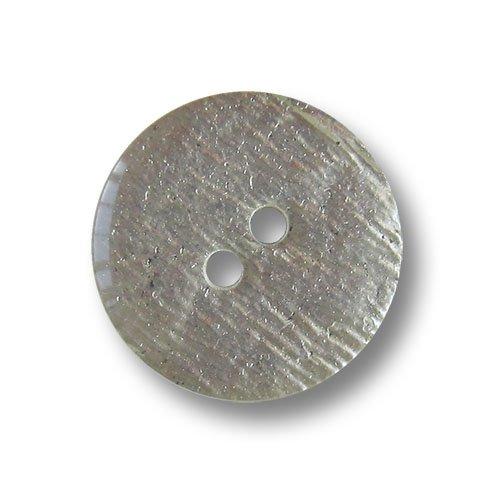 Knopfparadies - Zestaw 10 szt. w kształcie dyskoteki srebrnych dwóch otworów guziki z tworzywa sztucznego z nieregularnym kreskowaniem/srebrnym kolorze, niewielka ilość czarnych rozprysków, tył czarny/guziki z tworzywa sztucznego/Ø ok. 18 mm