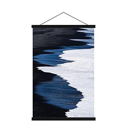 Sanauto Listello per poster B3, 35 cm, magnetico, in legno, per poster e poster, con cornice portafoto (35 cm, nero)
