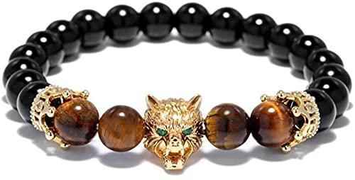 Feng Shui Attract Wealth Money Trendy Pulsera para Hombre 8 Mm Obsidiana Natural Ojo De Tigre para Lobo Animal Brazalete Elástico para Hombres Mujeres, Buena Suerte