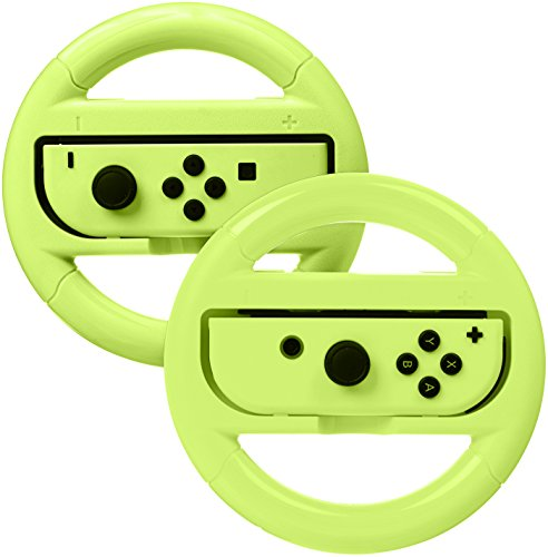 AmazonBasics Steering Wheel Controller for Nintendo Switch - Pack of 2, Neon Yellow