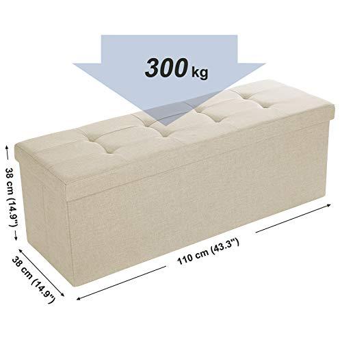 SONGMICS Sitzbank Sitztruhe max. statische Belastbarkeit 300 kg mit Stützrahmen aus Metall 120 L beige 110 x 38 x 38 cm LSF77BE - 6