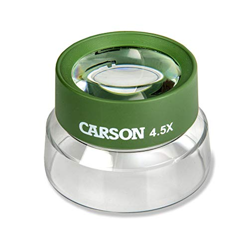 Carson Kids BugLoupe 4.5X Pre-Focused Stand Magnifier Loupe for Viewing Insects, Plants, Coins, Stamps, Maps, Fine Print and Wildlife (HU-55), Green, One Size