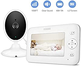 "Baby Monitor, 4.3"" Video Baby Monitor with Camera Audio, Long Battery Life/VOX, 1000ft Range, Room Temperature & Accurate Audio Sensor, Infrared Night Version, 2-Way Audio, Out of Range Alert"