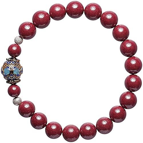 Perlas de oración islam festivo feng shui pulsera pulsera natural feng shui riqueza pulsera púrpura cinabo esmalte cristal buddha perlas crudo mineral atrae el brazalete de regalo de dinero de la suer