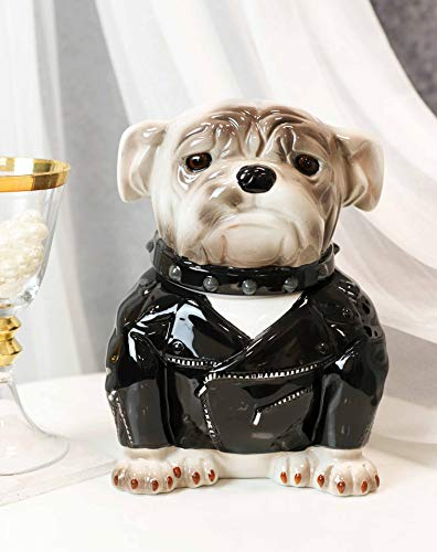 Ebros Ceramic American Gangster Bulldog Dog In Black Jacket And Spiked Collar Cookie Jar With Air Tight Lid Decorative Kitchen Countertop Accessory Figurine