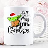 N\A Have Yourself A Merry Little Christmas Yoda Baby Lovers Xmas Holiday Season Taza de cerámica para Vacaciones Tazas de café gráficas Tazas Blancas Tapas de té Novedad Personalizada 11 oz