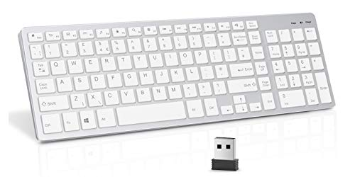 Rechargeable 2.4G Wireless Keyboard, Vivefox Compact Slim Keyboard with USB Receiver for Laptop/PC/Computer, QWERTY UK Layout, Silver and White