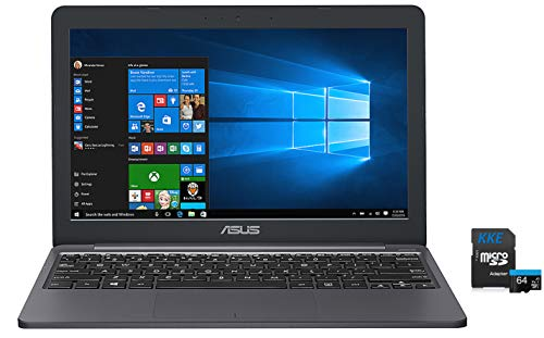 "ASUS L203 VivoBook Laptop, 11.6"" HD Display, Intel Celeron Dual Core CPU, 4GB RAM, 64GB Storage, USB-C, Windows 10 Home, Up to 10 Hours Battery Life, 1-Year of Microsoft 365, KKE 64GB MicroSD Card"