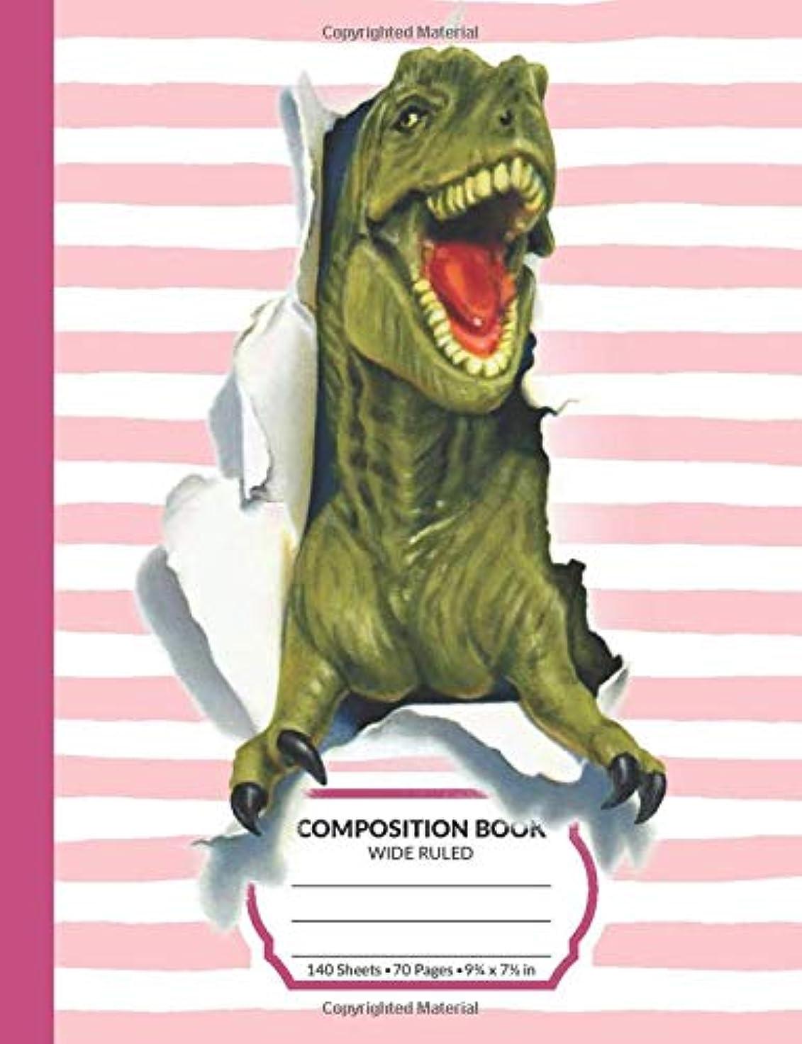 アブストラクト非常に怒っています早熟Composition Book: T-Rex Dinosaur Wide Ruled Blank Lined Writing Notebook | For School Assignments, Exercises, Lists, Or Notes (Pink Version)