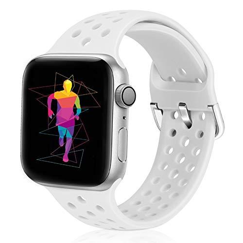 Runostrich Compatible con Apple Watch, 38 mm y 40 mm, silicona suave, transpirable, correa de repuesto compatible con iWatch Serie 5/4/3/2/1, deporte para mujeres y hombres (38 mm/40 mm, blanco).