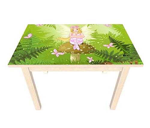 Set Möbelaufkleber für Ikea SUNDVIK Kindertisch Kinderzimmer Cartoon Elfe Fee Wald grün Kat2 Schmetterlinge rosa Märchen SU3 Aufkleber Möbelfolie sticker (Ohne Möbel) Folie 25V2574