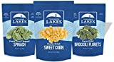 "3 individual pouches; 1 - 3.6 ounce pouch of freeze dried sweet corn, 1 - 1.2 oz pouch freeze dried broccoli florets (1/2"") - no stems; 1 - 1.4 oz pouch of freeze dried spinach Get more veggies in your daily diet with Thousand Lakes freeze dried vege..."