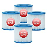 SKTLBB Pool Filter Type D Cartridge, Type D Filter Cartridge Compatible for Intex, Type VII Pool Filter for Bestway, Size D Spa Filter Hot Tub Filter Replacement, Pack of 4