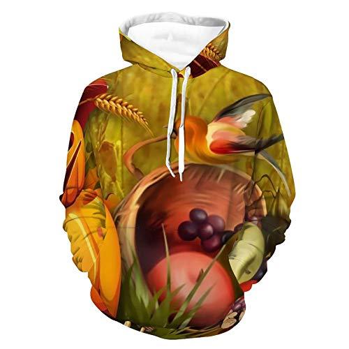 Sudadera unisex con capucha y estampado realista, de manga larga, con bolsillo, para mujeres y hombres, Calabaza de otoño brillante, XXXXXL