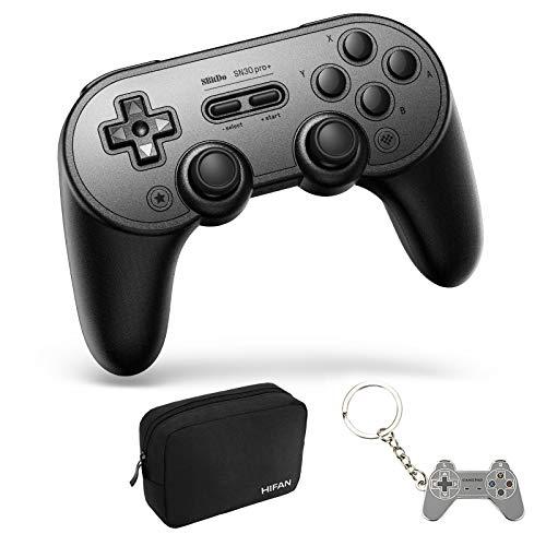 8Bitdo SN30 PRO Plus Wireless Controller für Nintendo Switch, Bluetooth-Controller Joystick mit Turbo Vibration Gamepads für Steam, macOS, PC, Android - Schwarz