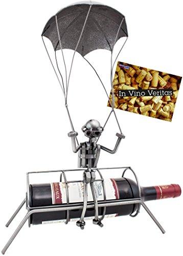 Brubaker Flaschenhalter Fallschirmspringer - Weinflaschenhalter aus Metall Fallschirmsprung - Skulptur mit Geschenkkarte - Silber