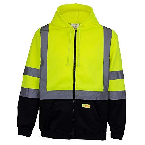 H9012 Men's ANSI Class 3 High Visibility Sweatshirt, Full Zip Hooded, Black Bottom (4XL)