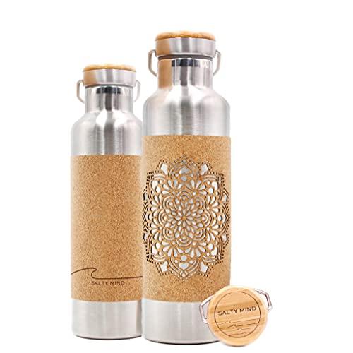 Salty Mind nachhaltige isolierte Edelstahl Trinkflasche 750ml - Klimaneutral - Thermo Wasserflasche, auslaufsicher, schadstofffrei | Kork Yoga Mandala Tragegriff