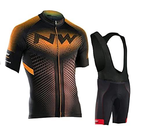 Ducomi Rafael Set Uomo Bici - Completo Ciclismo Composto da Pantaloncini Grembiule + Maglia con Zip - Completino Abbigliamento per Bicicletta Traspirante con Fondello Gel Rinforzato (Orange, 2XL)