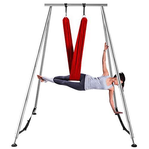VEVOR 6M Luftyoga Hängematte Set Luftyoga Trapez Schaukel Zubehör Luft Yoga Ständer Aufhägung für Yoga Anti-Schwerkraft(Wein rot)
