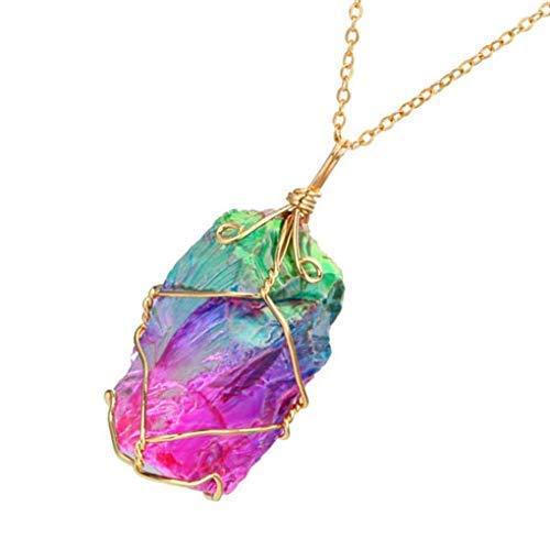 Guangcailun Collar de Roca Color al Azar Mujeres del Arco Iris de Piedra Natural de la Cadena Plateado de Cuarzo Cristal de Roca Chakra Collar Plateado de Oro Colgante de Cuarzo