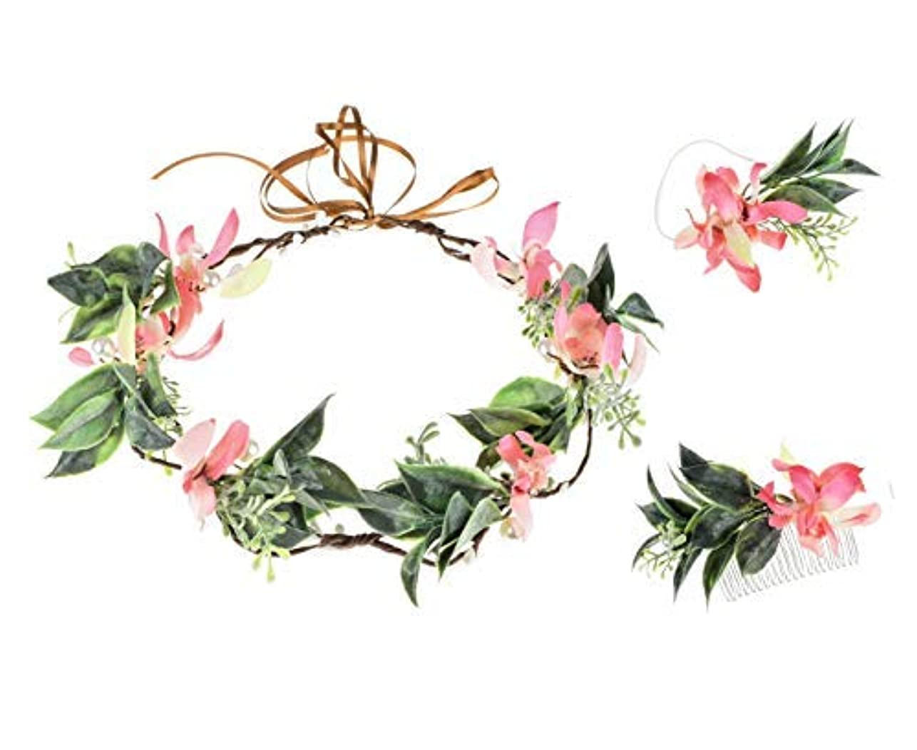 焦がす式印象的なFloral Fall Butterfly Orchid Flower Crown Hair Comb Green Leaf Wreath Bridal Wrist Flower Maternity Photo Props NS01 [並行輸入品]