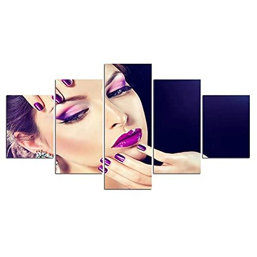 Wflwlhh 5 Teilig Leinwanddrucke Bild Canvas Painting Hair Beauty Salon Make-Up Cosmetics Nail Art Canvas Wall Art Print and Poster Artwork for Living Room-Gerahmt