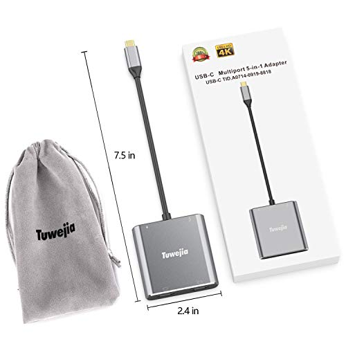 USB C to Dual HDMI 4K Adapter, Tuwejia Thounderbolt 3 to HDMI 1 in 2 Out Switch Splitter,USB 3.0 Hub and Quick Charge,Tpye C Digital av Adapter Compatible MacBook Pro/iPad Pro 2018/Macbook air 2018