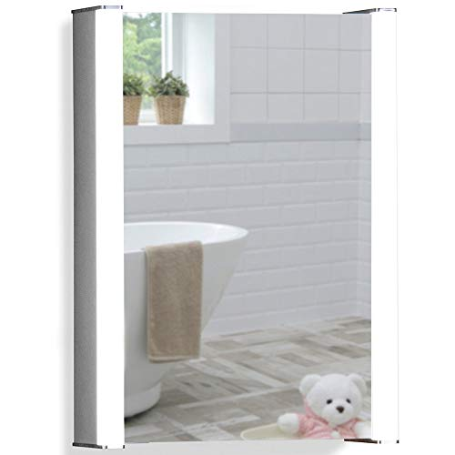Neue Design Armoire de Toilette pour Salle de Bain avec Miroir Lumineux, antibuée, Prise pour Rasoir, détecteur de Mouvement et éclairage LED 70cm(H) x 50cm(l) x 16cm(P) C11