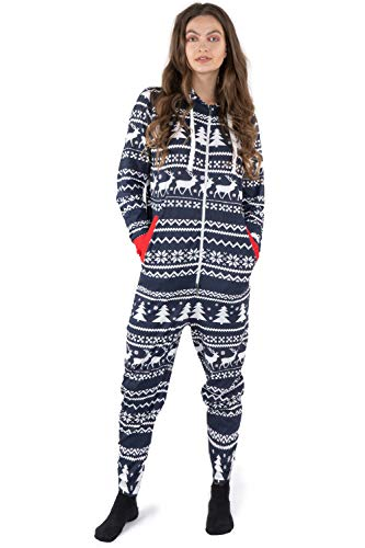 NOROZE Christmas Onesie Family Matching Sleepwear Holiday Sleepsuit Gifts for Men's Women's Boys Girls Loungewear Jumpsuit (M, Dad Reindeer Navy)