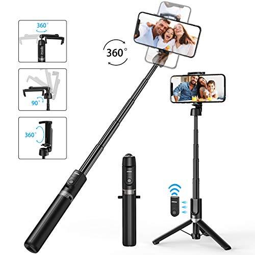 Mpow Handy Stativ Bluetooth Selfie Stick-Stativ Leicht mit Fernbedienung und stabilem Stativ, 360 ° -Drehstativ für iPhone SE iPhone 11 XS Max XR, Galaxy Note 10+ Note 10 S20 S20 + S10 usw.