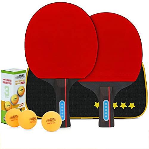 KCGNBQING Ping Pong Paddle Set -Table Paddles de Tenis - Conjunto de 2 paletas de Tenis de Mesa recreativa con 3 mejoradas, embaladas en Viajes Protectores Case-F