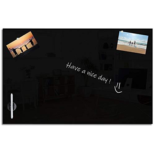 VISCOM Magnettafel Glas, 120 x 90 cm, Weitere Größen und Farben Wählbar, Magnetwand, Memoboard, Magnetisch, Schwarz (Inkl. 5 starke Neodym Magnete)