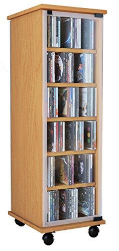 """VCM 30023 CD DVD Regal Turm Tower Vitrine Schrank Möbel mit Rollen Drehbar Farbwahl 98 x 31 x 35 cm """"Valenza"""""""