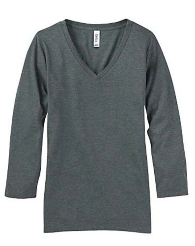 Bella Women's 3/4 Sleeve V-Neck T-Shirt, Dark Grey Heather, XX-Large