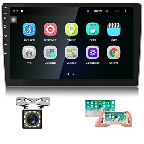 android auto radios Hikity 10.1 Inch Android Car Stereo with GPS Double Din Car Radio Bluetooth FM Radio Receiver Support WiFi Connect Mirror Link for Android/iOS Phone + Dual USB Input & 12 LEDs Backup Camera